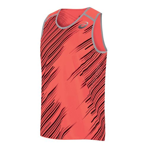 Mens ASICS Impact Singlet Sleeveless & Tank Technical Tops - Flame XXL