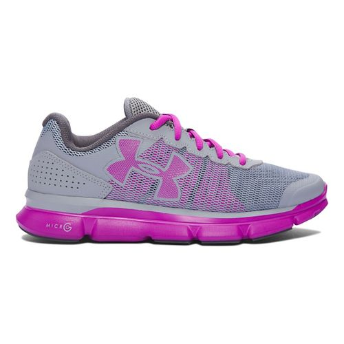 Womens Under Armour Micro G Speed Swift Running Shoe - Steel/Purple 10