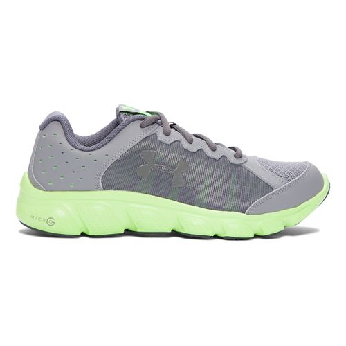Kids Under Armour Micro G Assert 6 Running Shoe - Steel/Lime Light 6.5Y