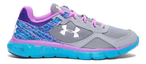 Kids Under Armour MicroG Velocity RN Running Shoe - Steel/Aqua 6.5Y