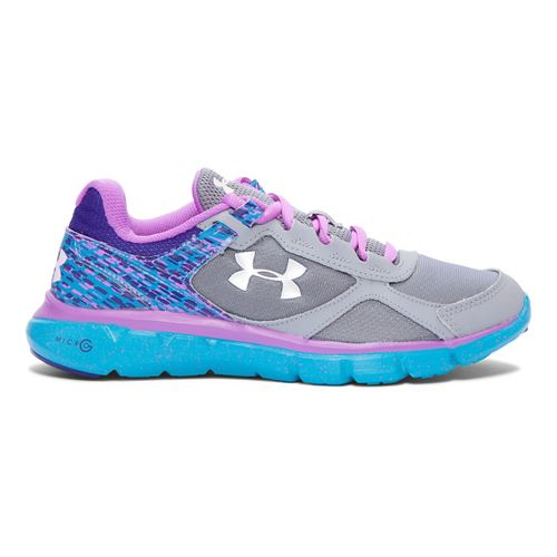 Kids Under Armour Girls MicroG Velocity RN Running Shoe - Steel/Aqua 7Y