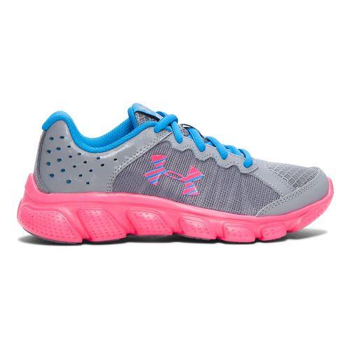 Kids Under Armour Girls Assert 6 Running Shoe - Steel/Red 1.5Y