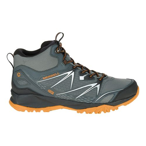 Mens Merrell Capra Bolt Mid Waterproof Hiking Shoe - Grey/Orange 10