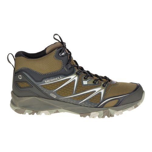 Mens Merrell Capra Bolt Mid Waterproof Hiking Shoe - Grey/Orange 11.5