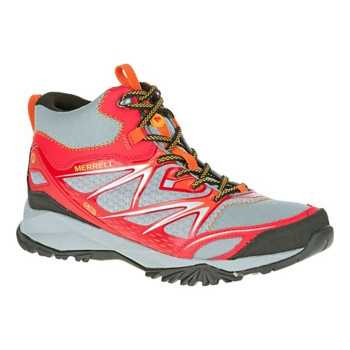 Mens Merrell Capra Bolt Mid Waterproof Hiking Shoe - Bright Red 7