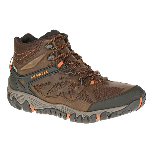 Mens Merrell All Out Blaze Vent Mid Waterproof Hiking Shoe - Burnt Maple 11