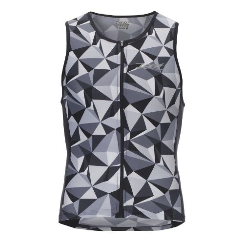 Mens Zoot Performance Full-Zip Tri Sleeveless & Tank Technical Tops - Black Camo L