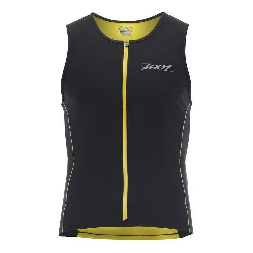 Mens Zoot Performance Full-Zip Tri Sleeveless & Tank Technical Tops - Black/Yellow S