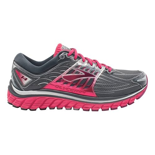 Womens Brooks Glycerin 14 Running Shoe - Anthracite/Pink 7.5