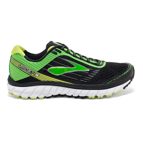 Mens Brooks Ghost 9 Running Shoe - Black/Classic Green 10.5