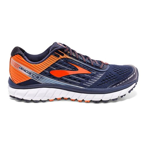 Mens Brooks Ghost 9 Running Shoe - Navy/Orange 9.5