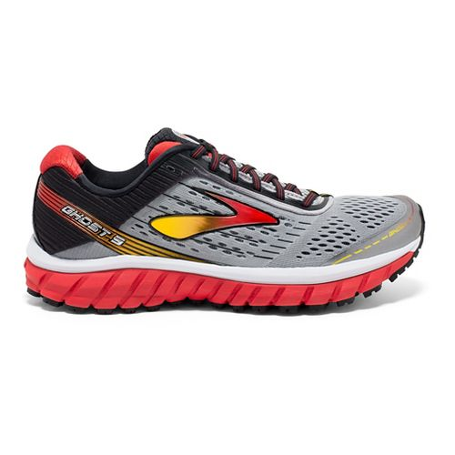 Mens Brooks Ghost 9 Running Shoe - Silver/Red 12.5