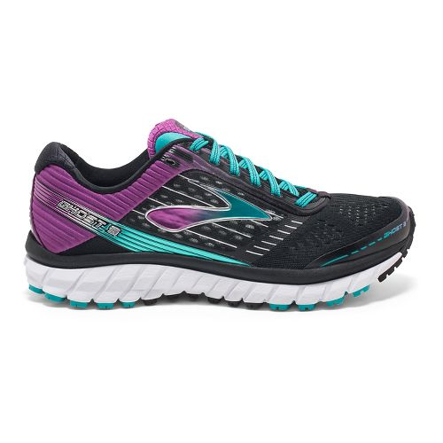 Womens Brooks Ghost 9 Running Shoe - Black/Purple 7.5