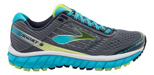Womens Brooks Ghost 9 Running Shoe - Silver/Blue 6.5