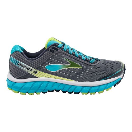 Womens Brooks Ghost 9 Running Shoe - Silver/Blue 8.5