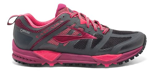 Womens Brooks Cascadia 11 GTX Trail Running Shoe - Anthracite/Berry 9.5