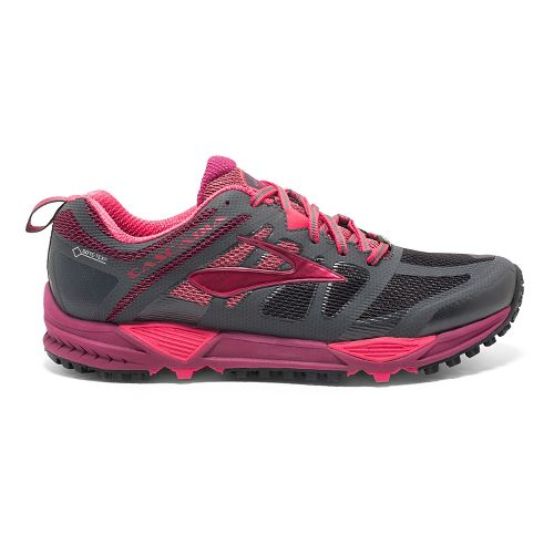 Womens Brooks Cascadia 11 GTX Trail Running Shoe - Anthracite/Berry 10.5