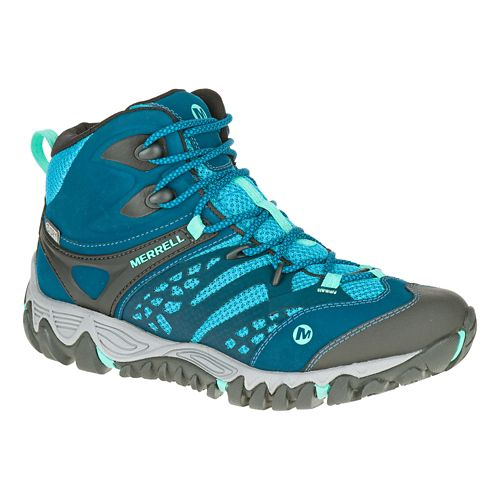 Womens Merrell All Out Blaze Vent Mid Waterproof Hiking Shoe - Turquoise 6.5