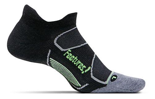 Feetures Elite Max Cushion No Show Tab Socks - Black/Reflector M