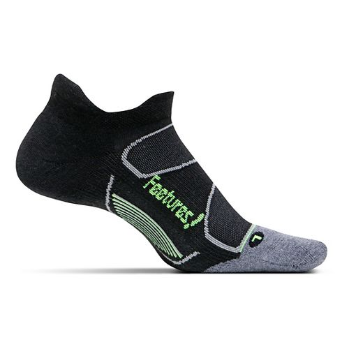 Feetures Elite Max Cushion No Show Tab Socks - Black/Reflector L
