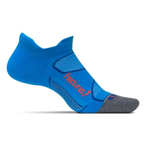 Feetures Elite Max Cushion No Show Tab Socks - Bright Blue/Lava M