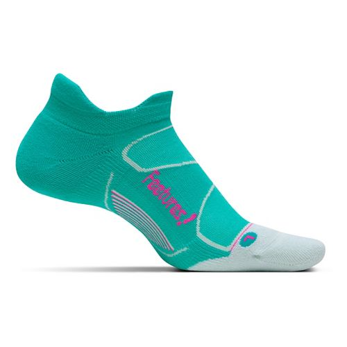 Feetures Elite Max Cushion No Show Tab Socks - Atlantis/Fuchsia M
