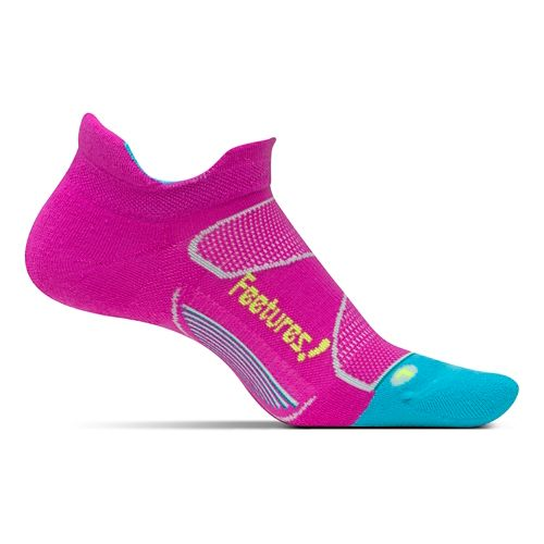 Feetures Elite Max Cushion No Show Tab Socks - Wisteria Rose/Reflector M