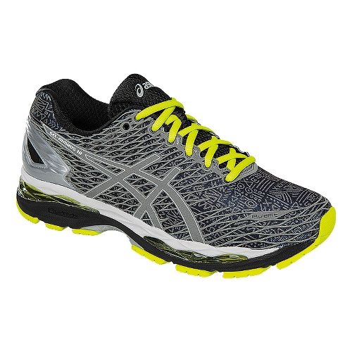 Mens ASICS GEL-Nimbus 18 Lite-Show Running Shoe - Black/Silver 7.5