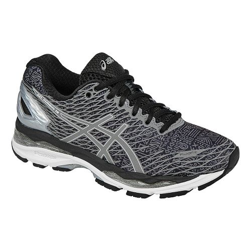Womens ASICS GEL-Nimbus 18 Lite-Show Running Shoe - Black/Silver 6.5