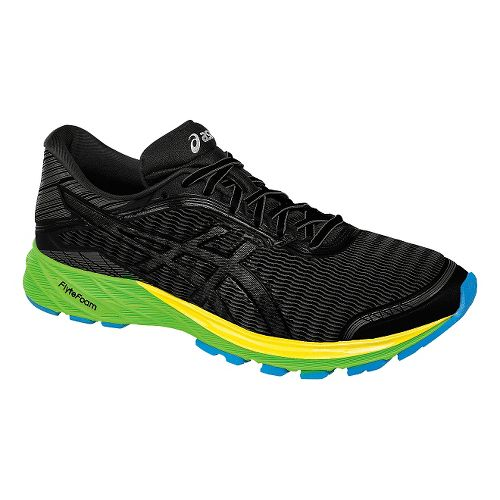 Mens ASICS DynaFlyte Running Shoe - Black/Green 6.5