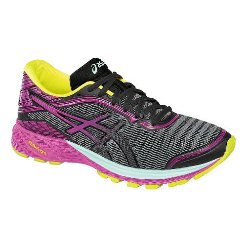 Womens ASICS DynaFlyte Running Shoe - Black/Purple 9.5