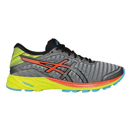 Womens ASICS DynaFlyte Running Shoe - Grey/Coral 5.5