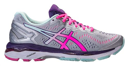 Womens ASICS GEL-Kayano 23 Running Shoe - Silver/Pink 7.5