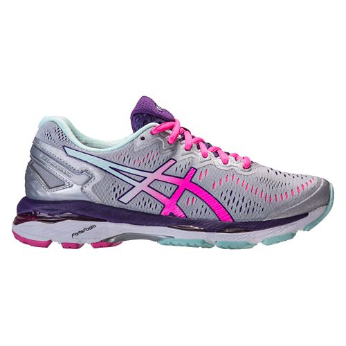 Womens ASICS GEL-Kayano 23 Running Shoe - Silver/Pink 12.5