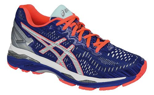 Womens ASICS GEL-Kayano 23 Lite-Show Running Shoe - Blue/Coral 11