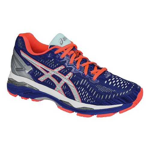 Womens ASICS GEL-Kayano 23 Lite-Show Running Shoe - Blue/Coral 10.5