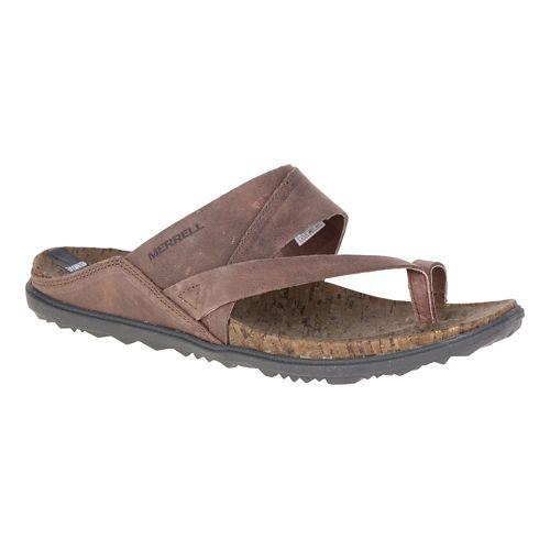 Womens Merrell Around Town Thong Sandals Shoe - Brown 5