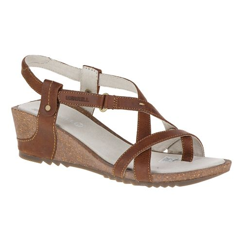 Womens Merrell Revalli Aura Post Sandals Shoe - Dark Tan 9