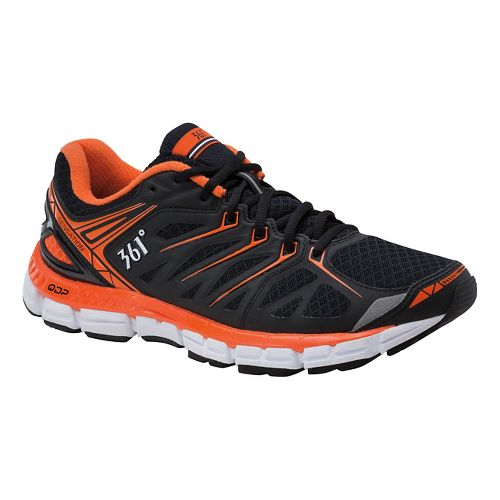 Mens 361 Degrees Sensation Running Shoe - Black/Red Orange 10