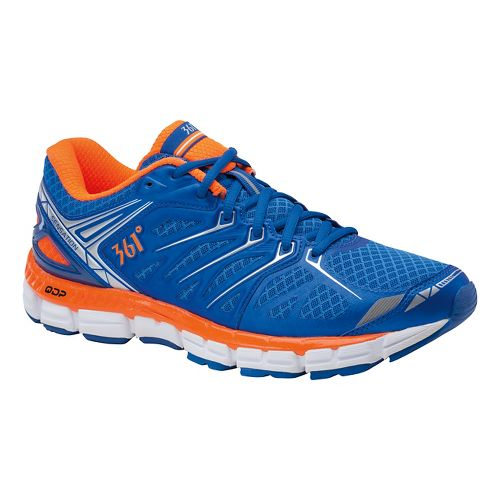 Mens 361 Degrees Sensation Running Shoe - Nautical Blue/Orange 10.5