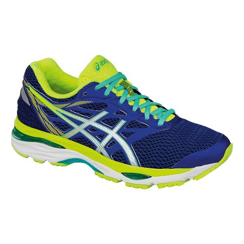 Womens ASICS GEL-Cumulus 18 Running Shoe - Navy/Safety Yellow 8