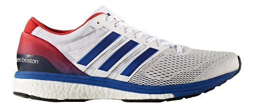 Mens adidas Adizero Boston 6 Running Shoe - White/Blue 10.5