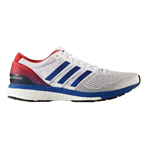 Mens adidas Adizero Boston 6 Running Shoe - White/Solar Red 7.5