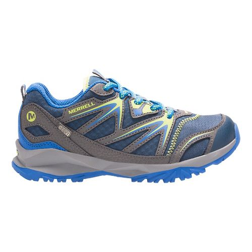 Kids Merrell Capra Bolt Low Lace Waterproof Running Shoe - Navy/Citron 4.5Y