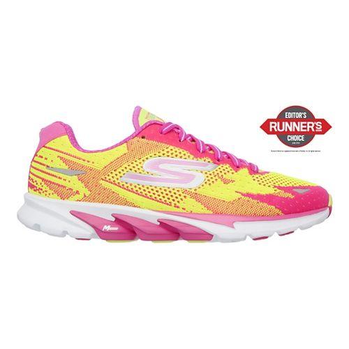 Womens Skechers GO Run 4  Running Shoe - Lime/Hot Pink 8.5