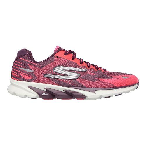 Womens Skechers GO Run 4  Running Shoe - Burgundy/Hot Pink 6