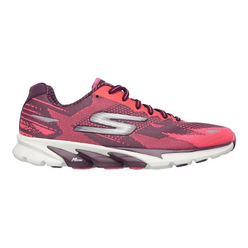 Womens Skechers GO Run 4  Running Shoe - Burgundy/Hot Pink 7.5