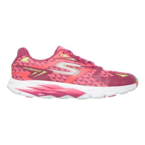 Womens Skechers GO Run Ride 5 Running Shoe - Hot Pink/Green 7.5