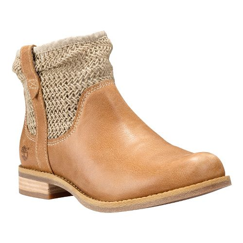 Womens Timberland Savin Hill Leather and Fabric Ankle Boot Casual Shoe - Tan 10