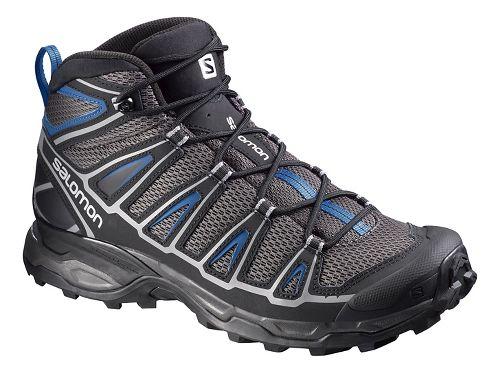 Mens Salomon X-Ultra Mid Aero Hiking Shoe - Black/Blue 9